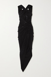 Alexandre Vauthier Asymmetric ruched crystal-embellished stretch-jersey gown
