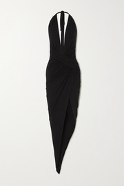 Alexandre Vauthier Asymmetric ruched stretch-jersey halterneck gown