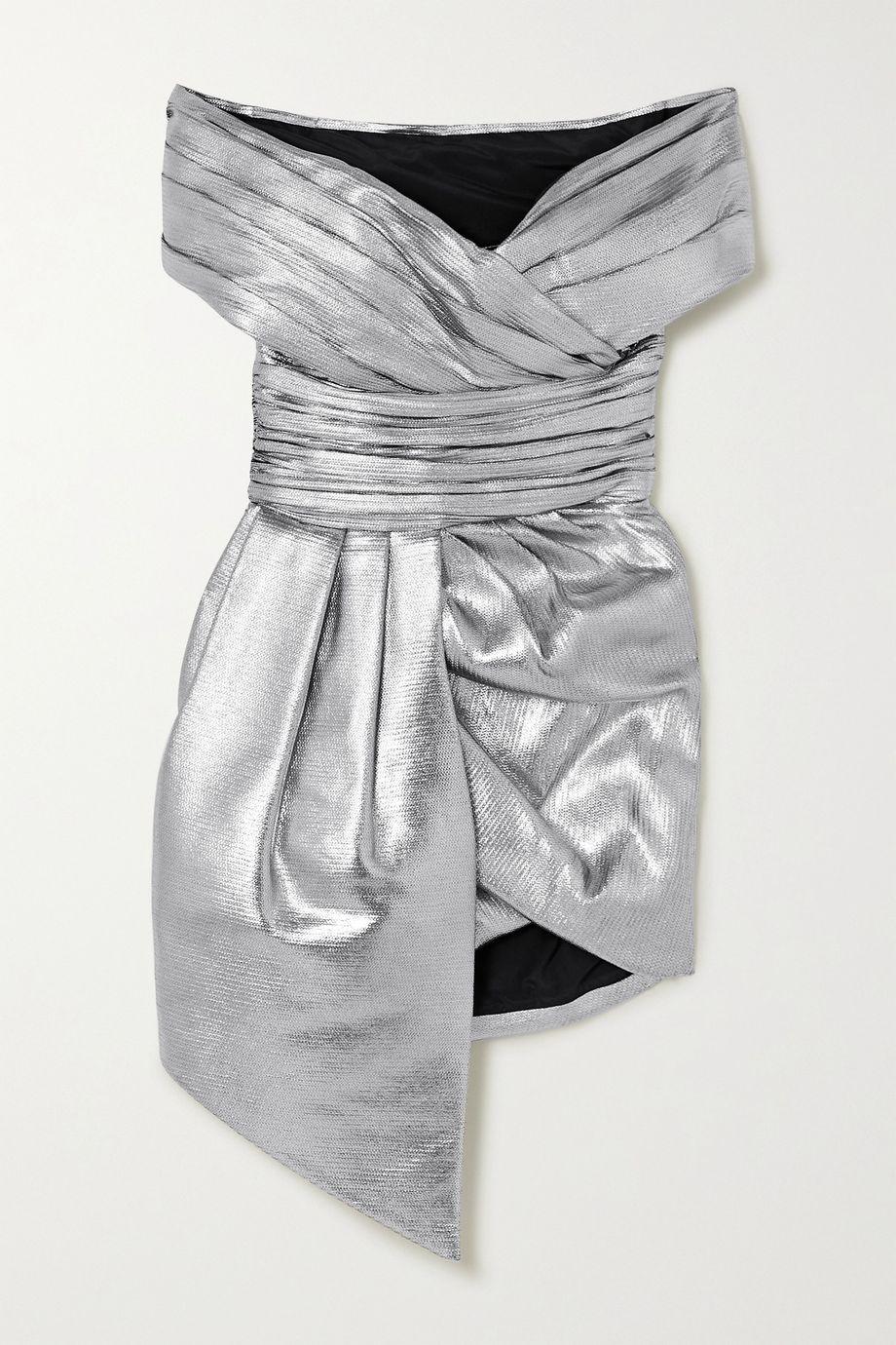 Alexandre Vauthier Off-the-shoulder gathered lamé mini dress