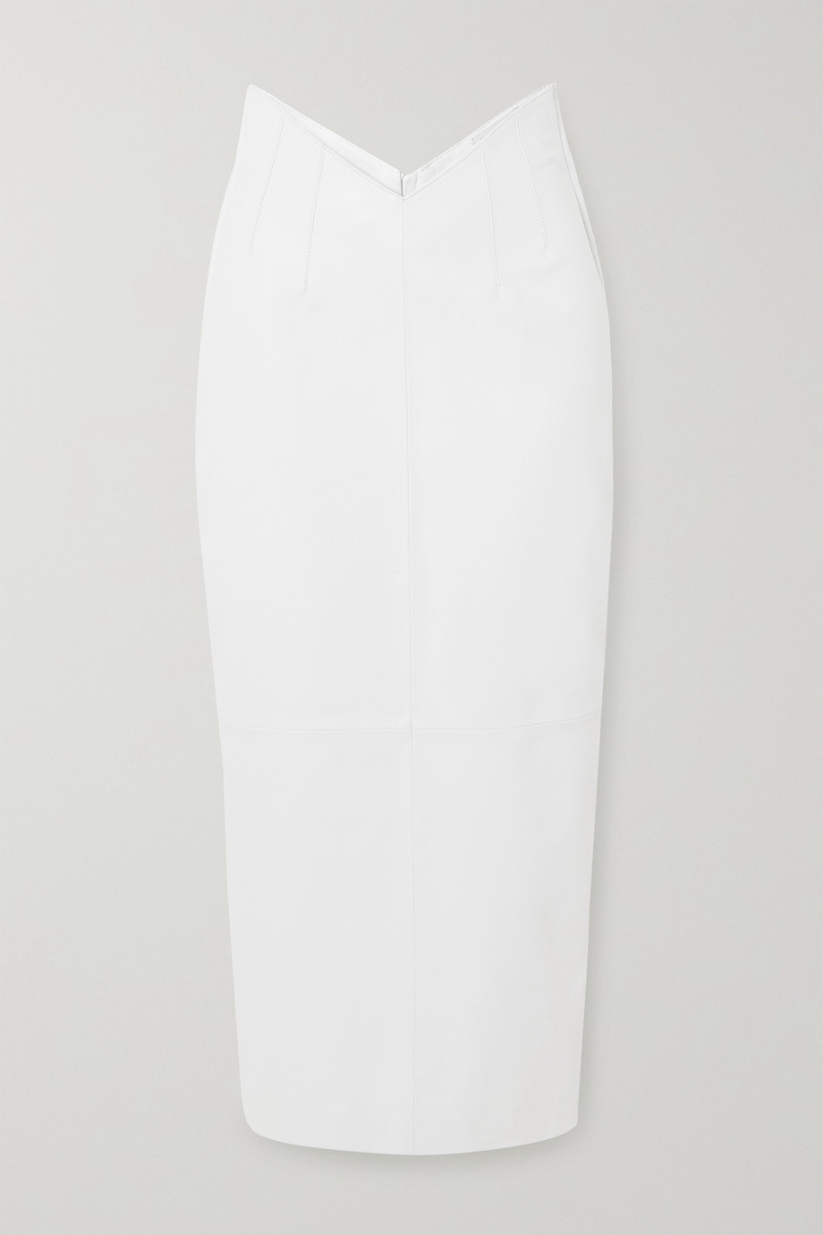 The Attico Butterfly bow-detailed leather midi skirt