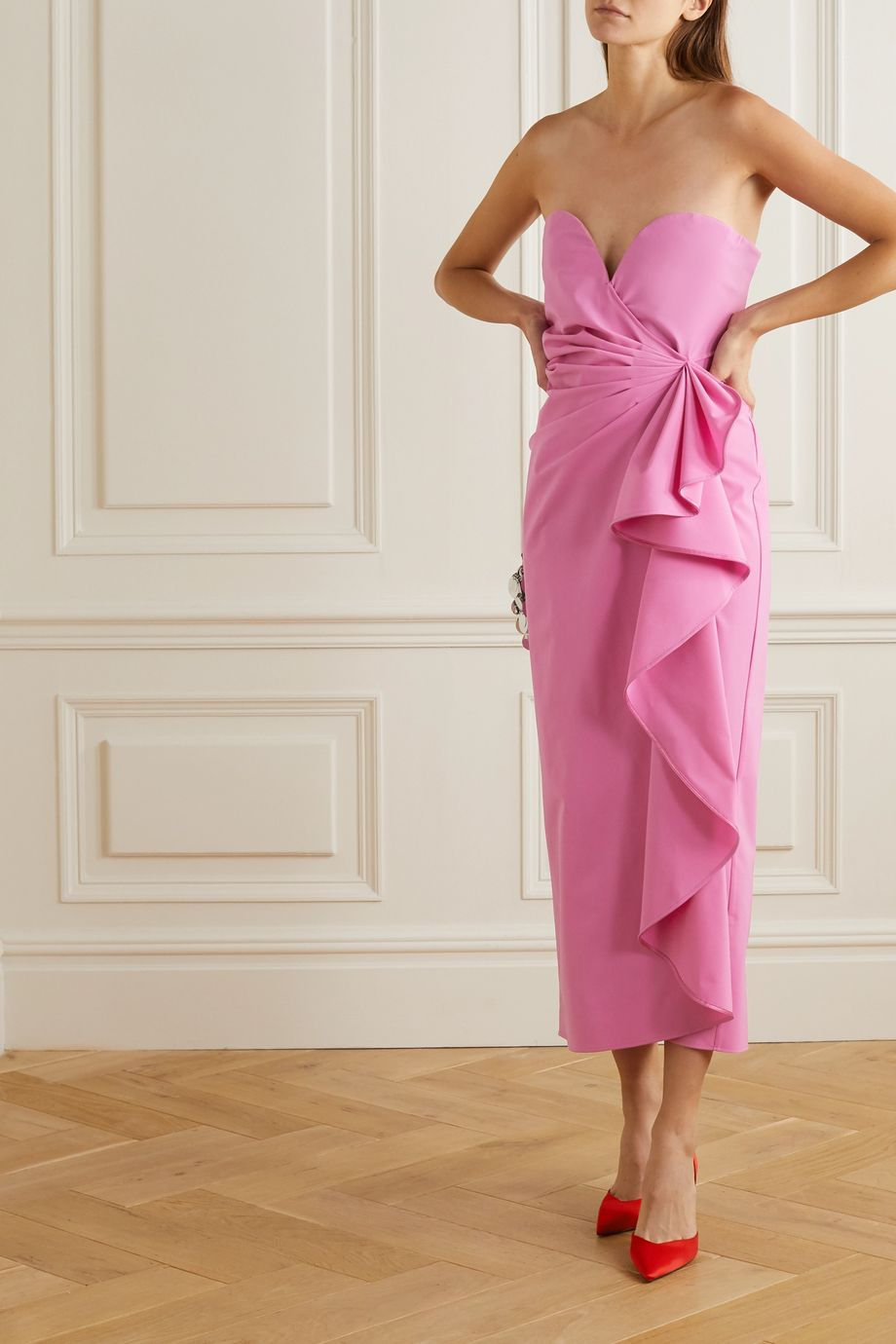 The Attico Gathered stretch-wool midi dress
