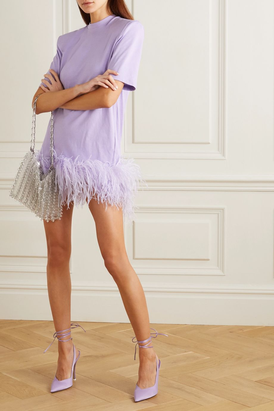 The Attico Feather-trimmed cotton-jersey mini dress
