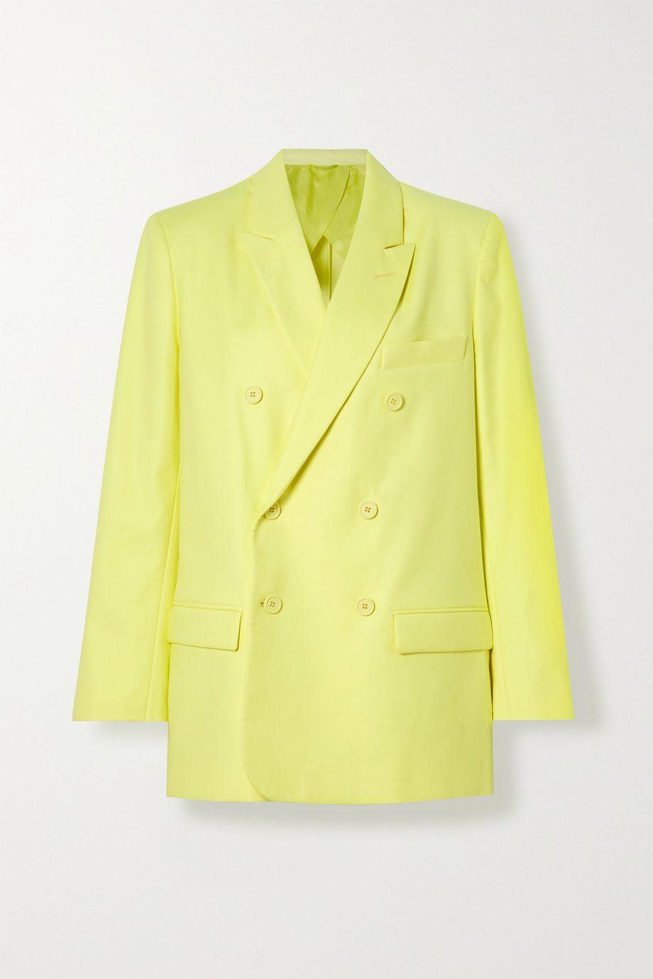 The Attico Double-breasted cotton-blend twill blazer