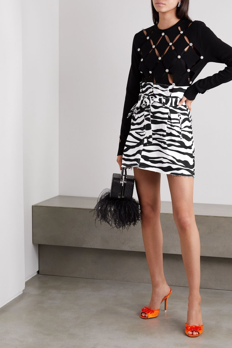 The Attico Belted frayed zebra-print denim mini skirt