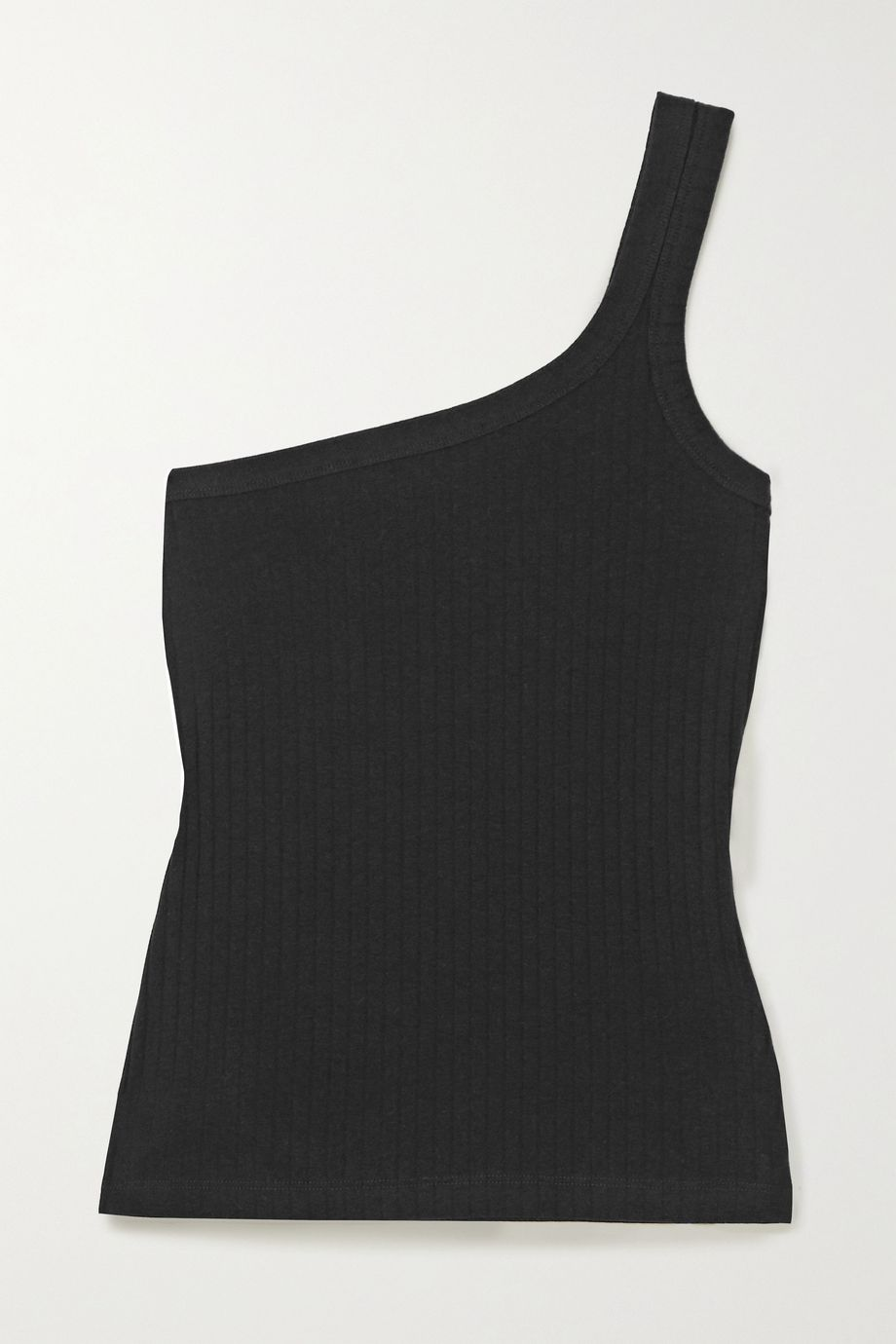 Ninety Percent One-shoulder ribbed stretch-organic cotton tank