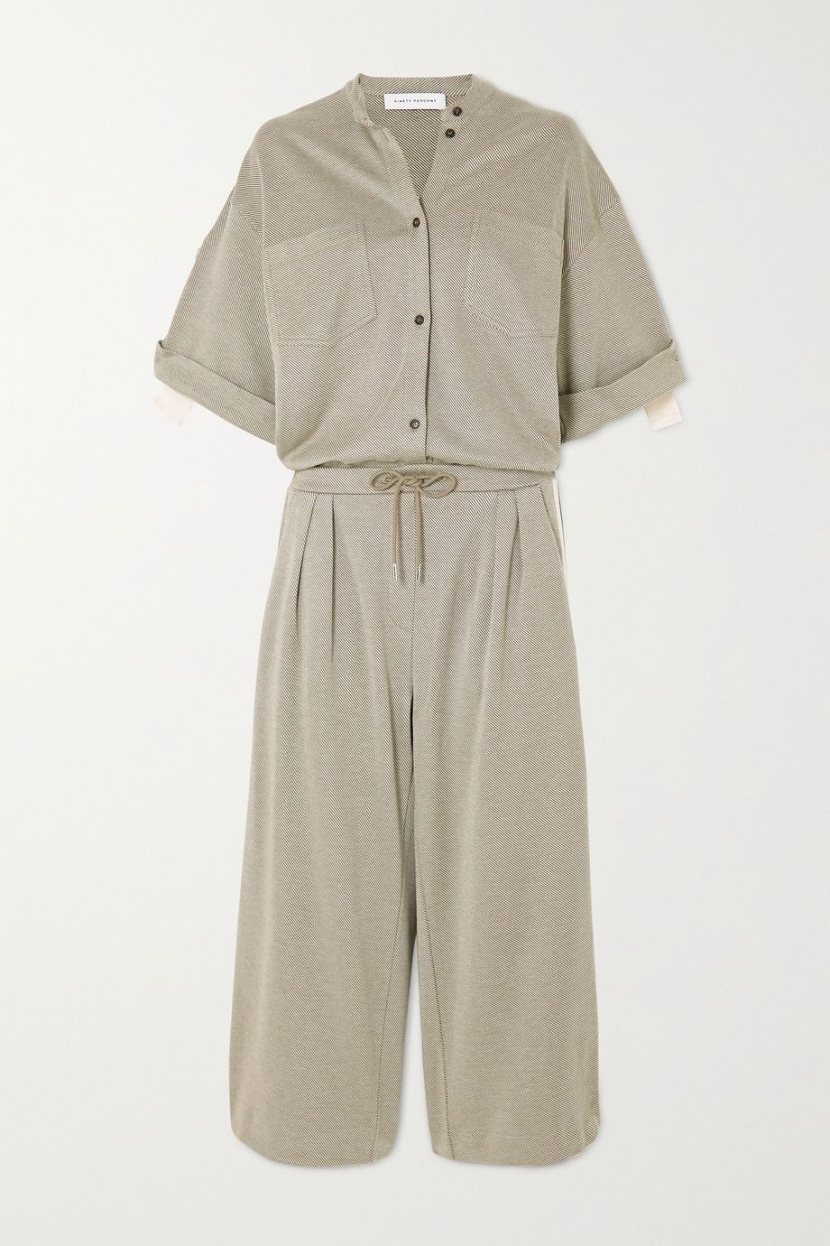 Ninety Percent Striped organic cotton-blend twill jumpsuit