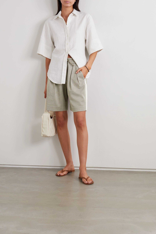 Ninety Percent Striped pleated organic cotton-blend twill shorts