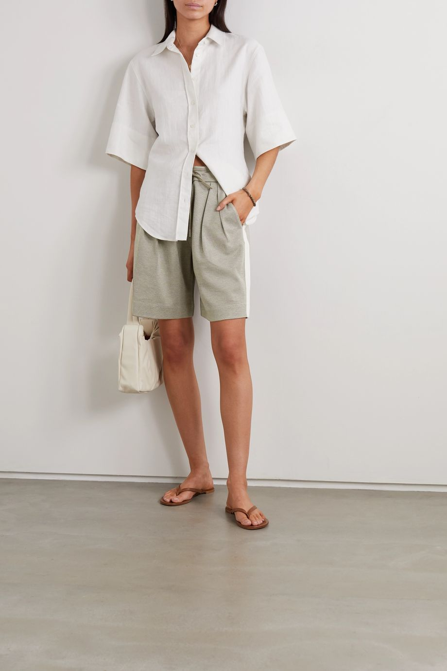 Ninety Percent Striped pleated organic cotton-blend twill shorts