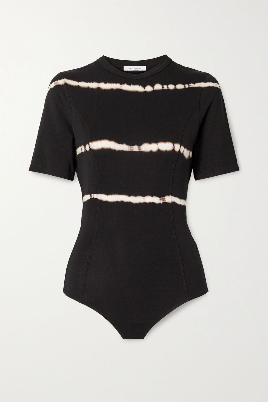 Ninety Percent Tie-dyed open-back stretch-Tencel bodysuit