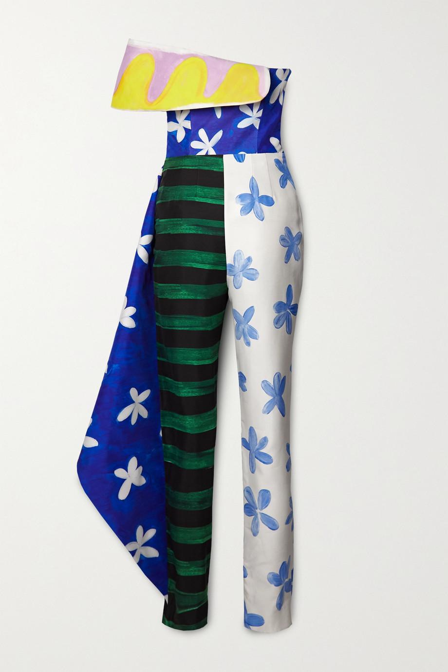Moschino Asymmetric printed twill jumpsuit