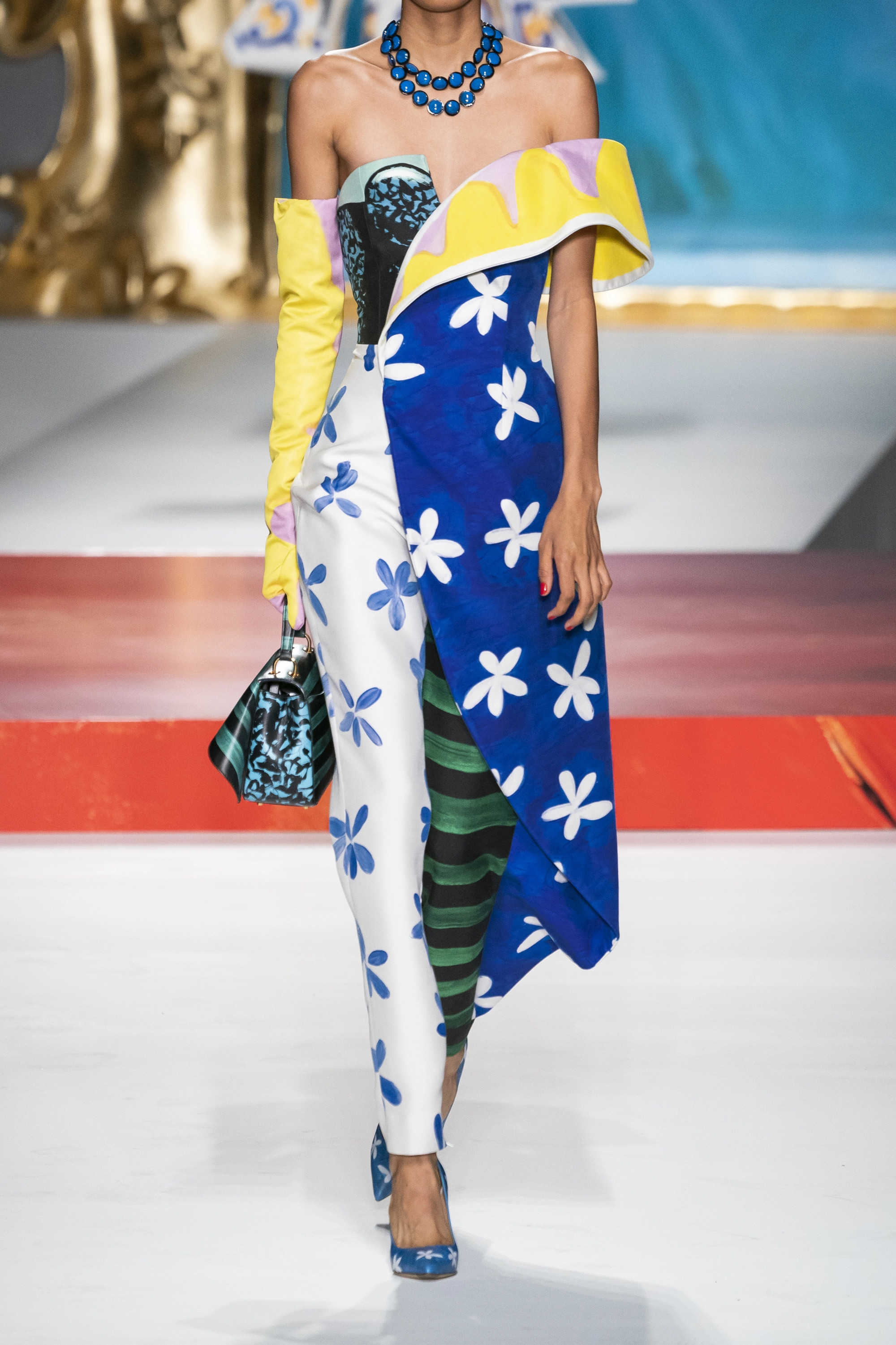 Moschino Asymmetric printed twill jumpsuit