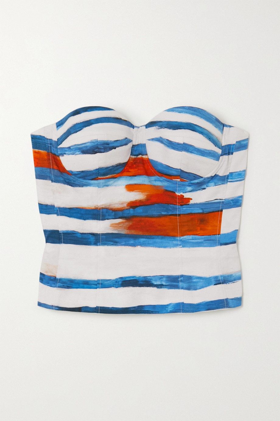 Moschino Cropped striped cotton-blend poplin top