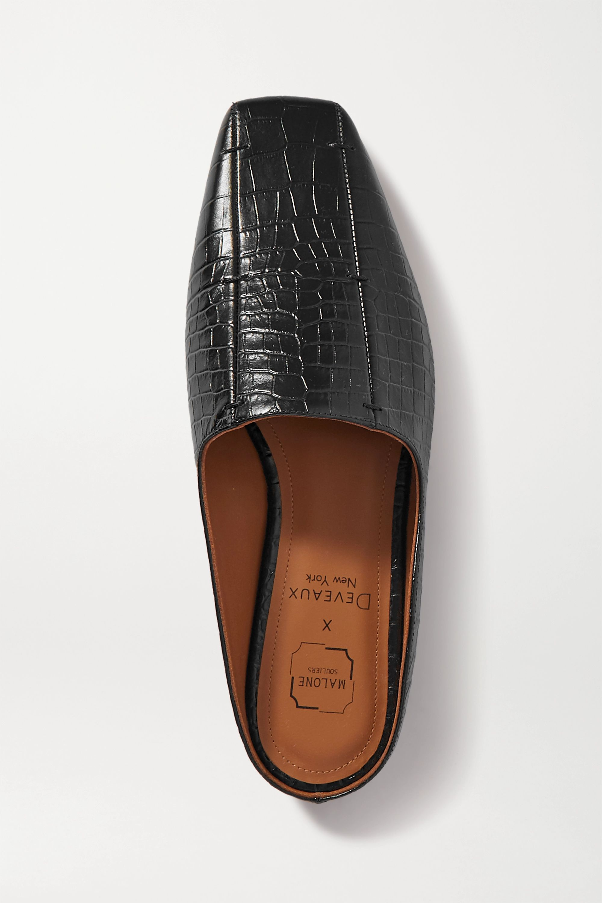 Malone Souliers + Deveaux Dax croc-effect leather loafers