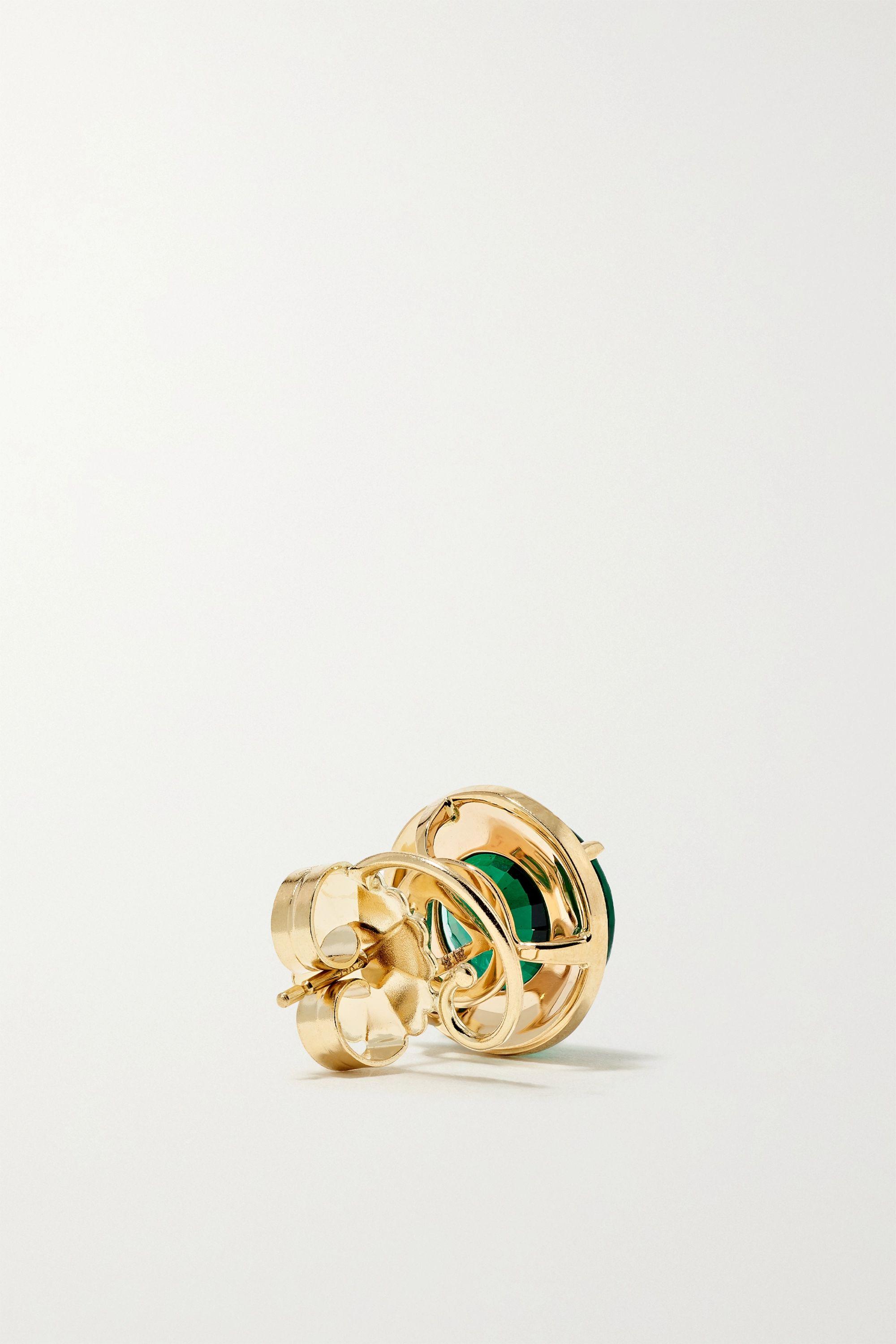 Alison Lou 14-karat gold, enamel and emerald earrings
