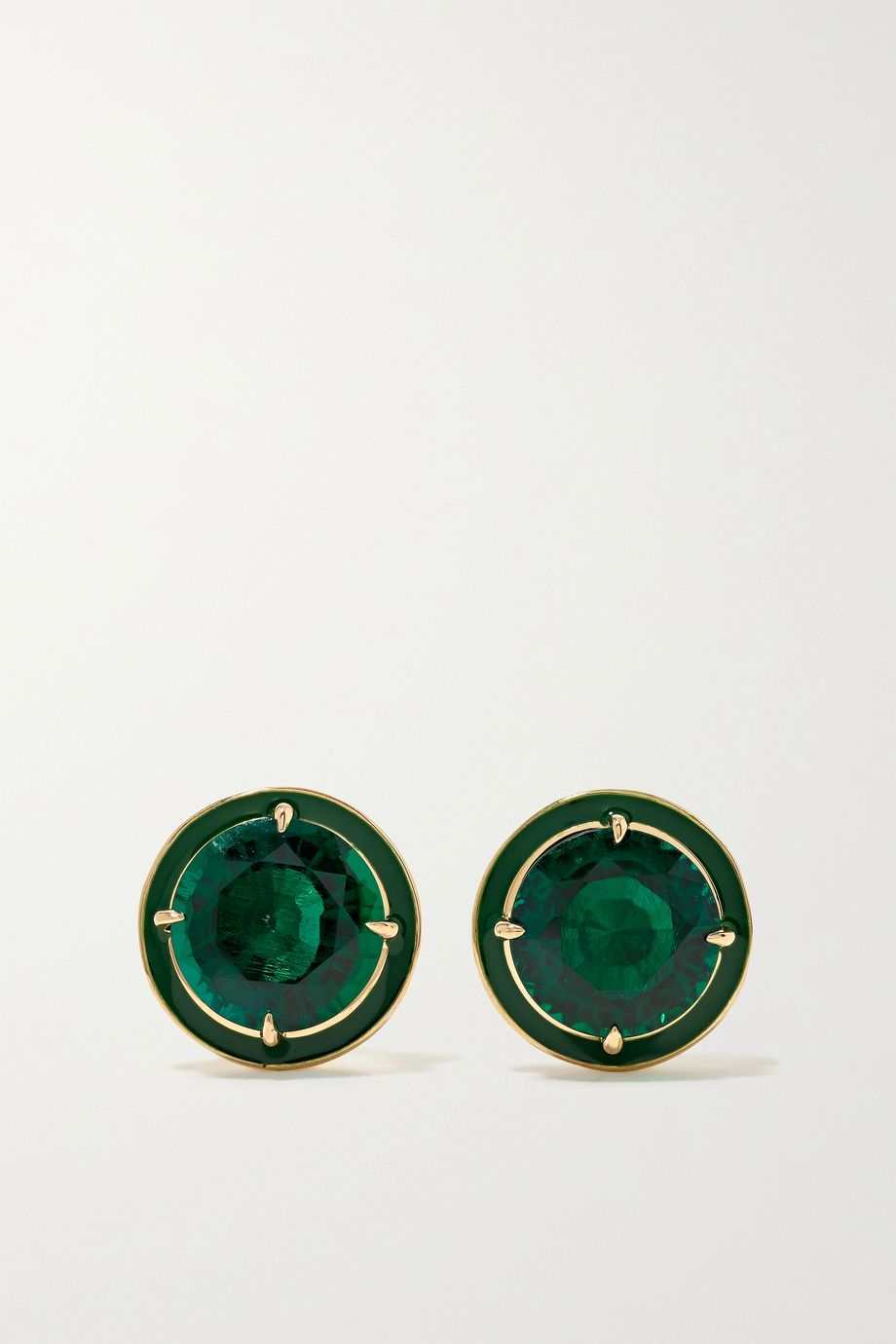 Alison Lou 14-karat gold, enamel and emerald earrings