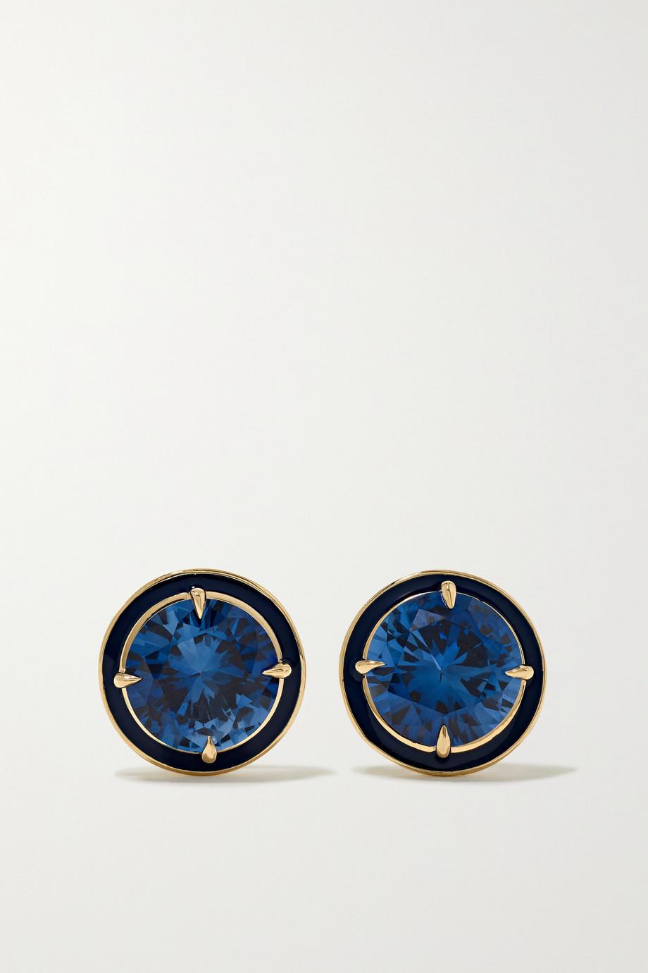 Alison Lou 14-karat gold, enamel and sapphire earrings