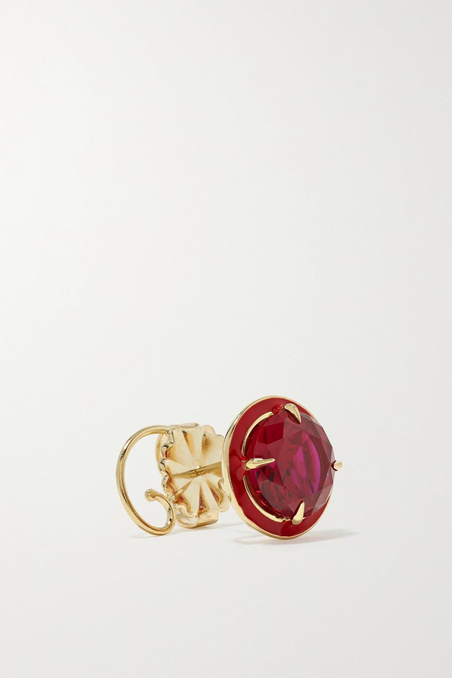 Alison Lou Ohrringe aus 14 Karat Gold mit Rubinen und Emaille