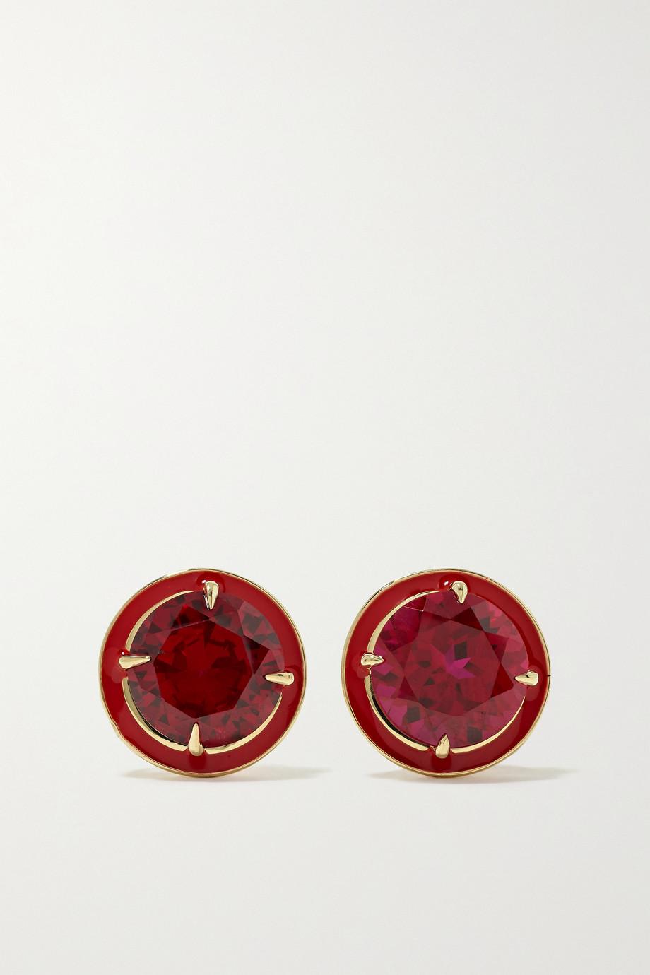 Alison Lou 14-karat gold, enamel and ruby earrings