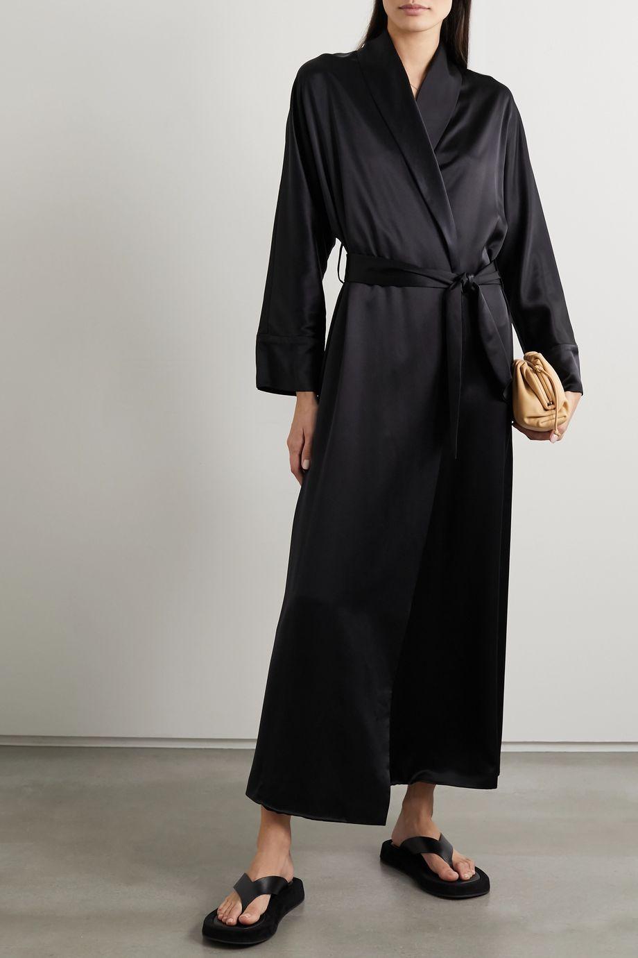 La Collection Hana belted washed silk-satin kimono