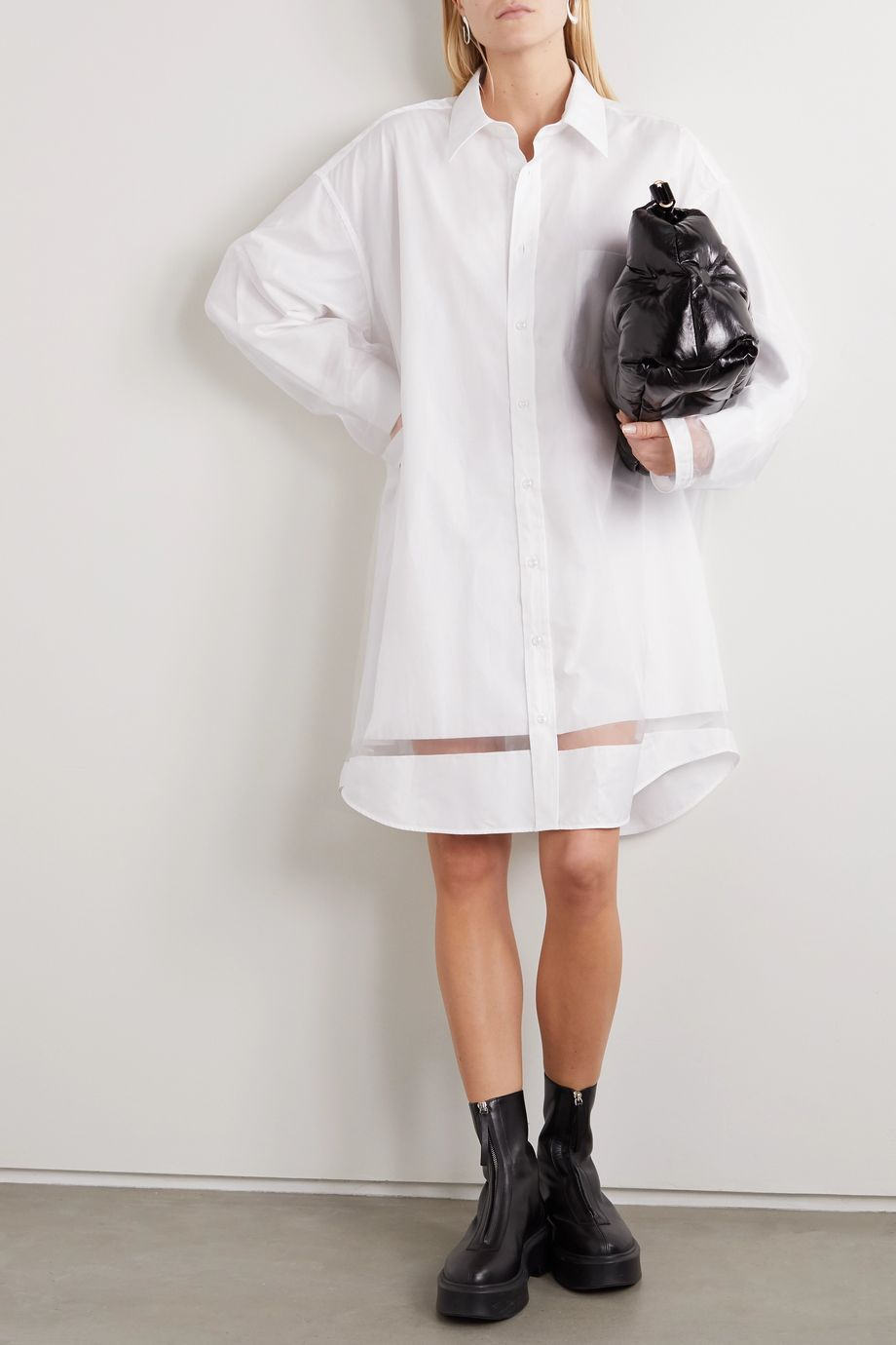 Maison Margiela Layered organza and cotton-poplin shirt dress