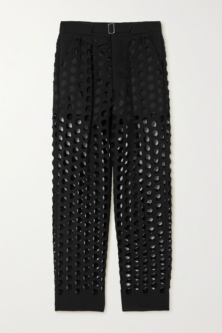 Maison Margiela Pleated laser-cut crepe straight-leg pants