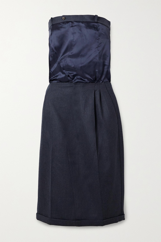 Trägerloses Kleid aus Grain de Poudre aus Wolle und Seiden-Twill