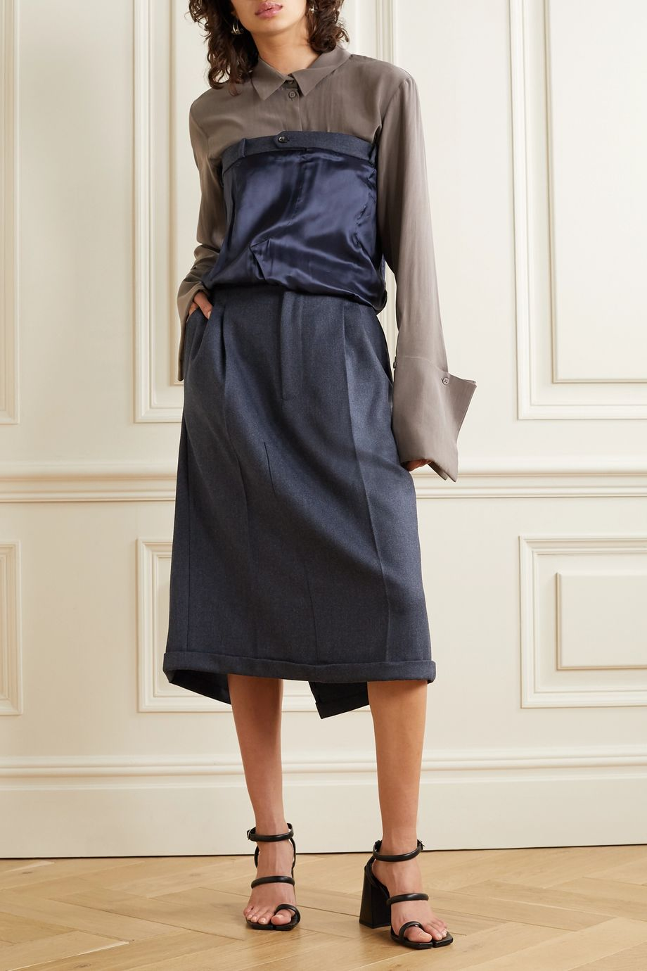 Maison Margiela 粒纹羊毛缎面斜纹布抹胸式连衣裙