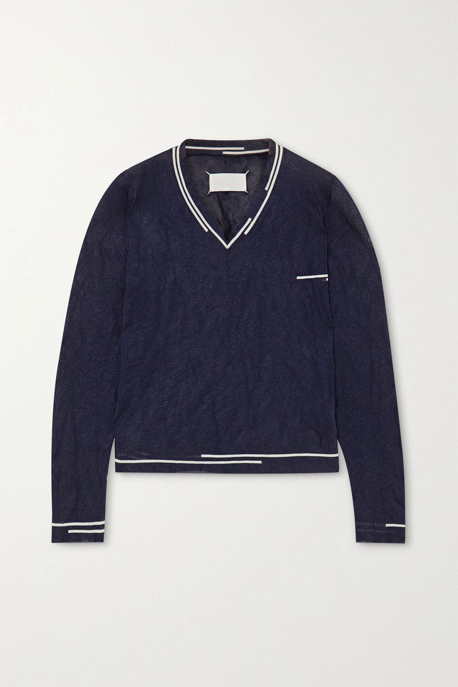 Maison Margiela 双色褶皱金属感针织毛衣