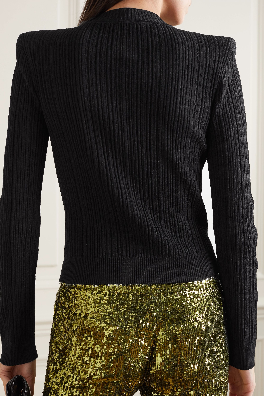 Balmain Button-embellished ribbed-knit cardigan