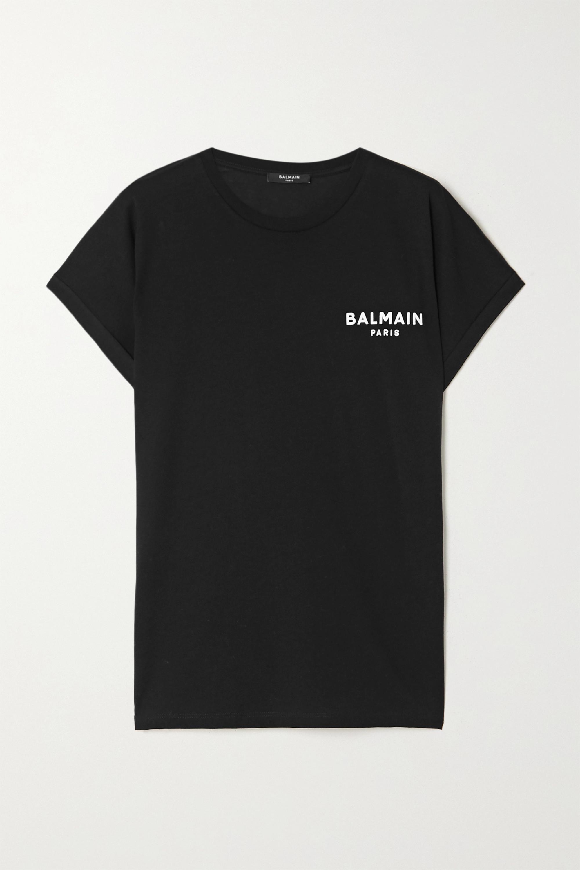 Balmain Flocked cotton-jersey T-shirt