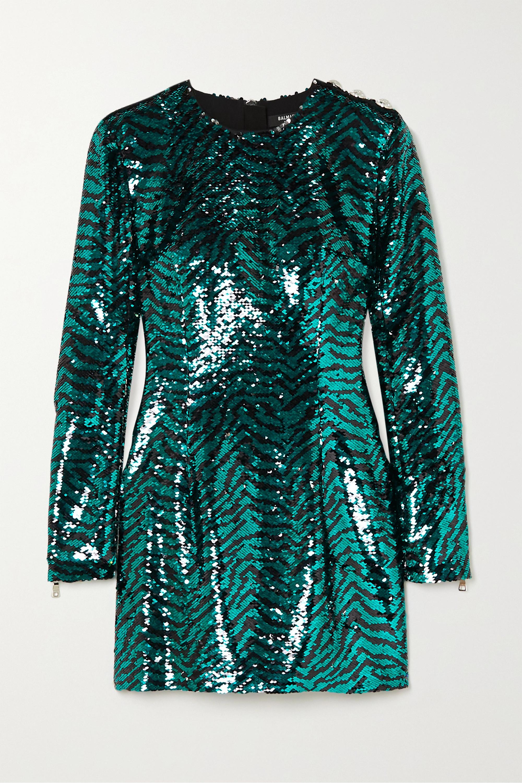 Balmain Button-embellished zebra-print sequined tulle mini dress