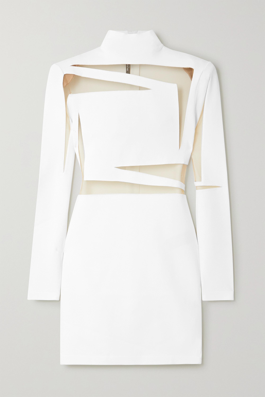 Balmain Tulle-paneled stretch-knit mini dress