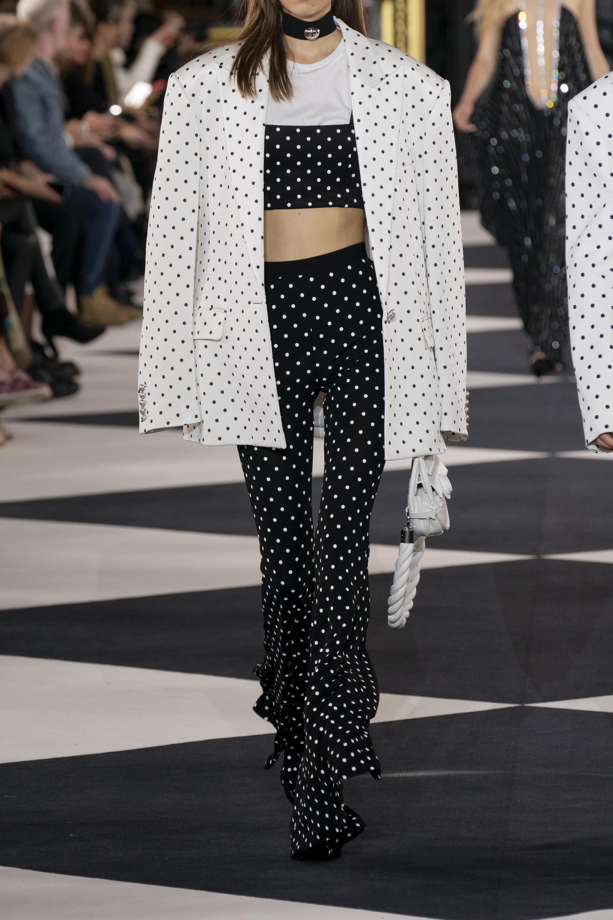 Balmain Cropped polka-dot stretch-knit top