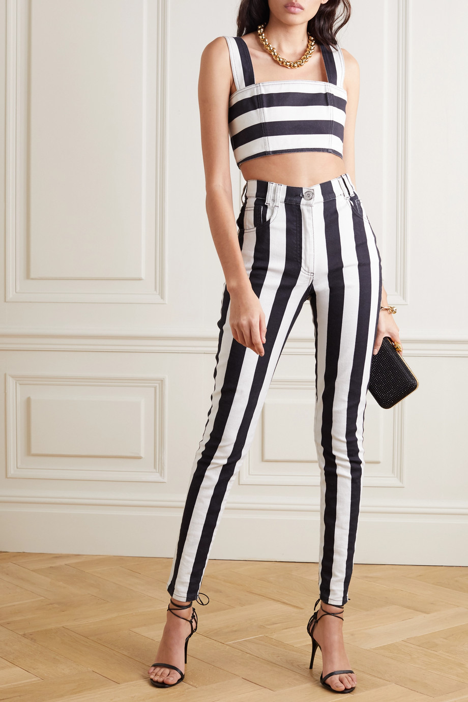 Balmain Cropped striped denim top