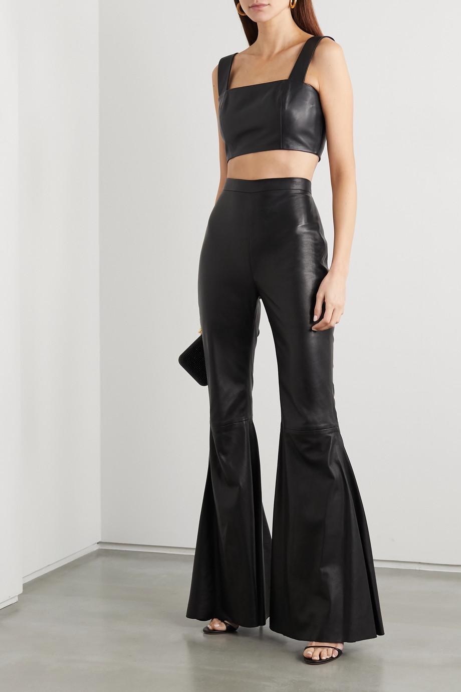 Balmain Leather flared pants