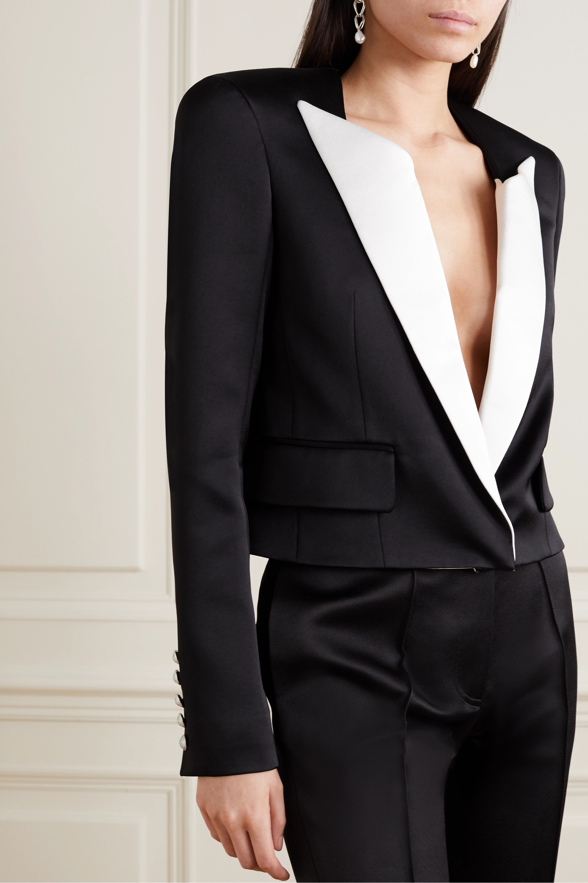 Balmain Cropped two-tone duchesse-satin blazer