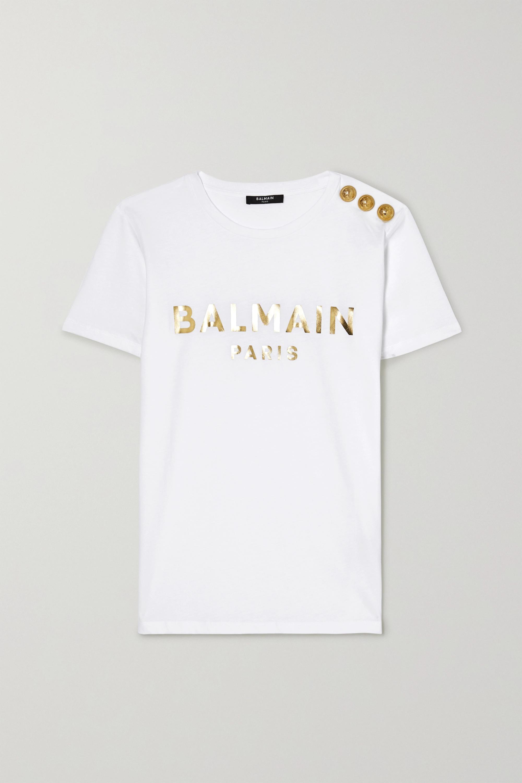 Balmain 纽扣缀饰印花纯棉平纹布 T 恤