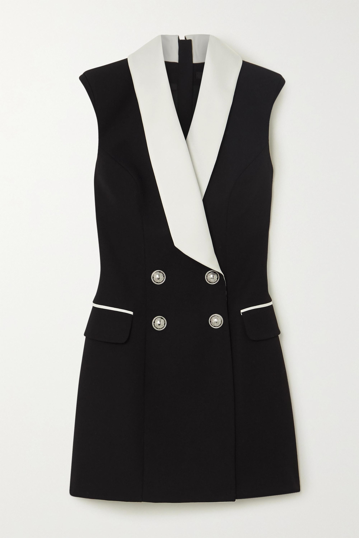 Balmain Double-breasted satin-trimmed wool mini dress