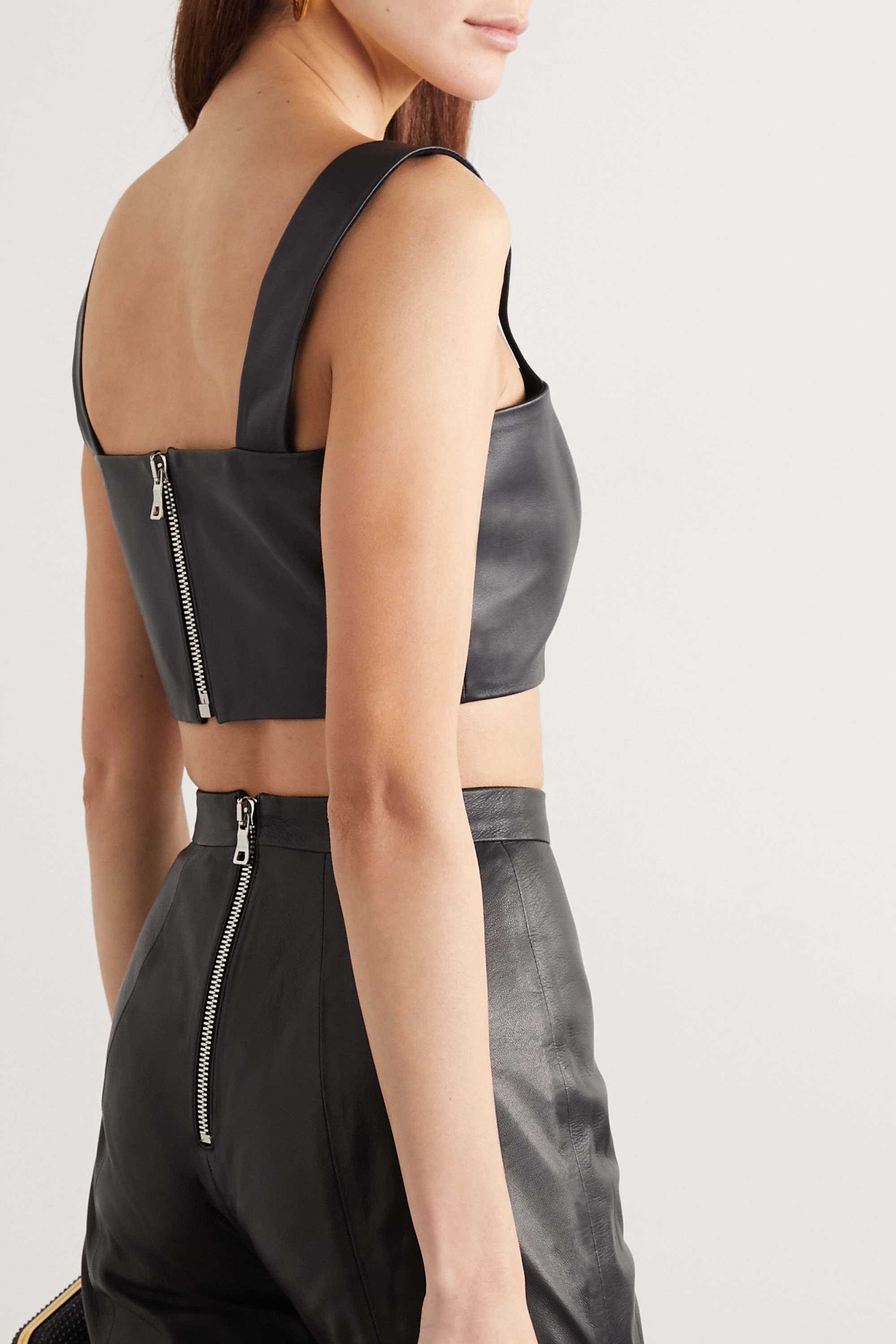 Balmain Cropped leather top
