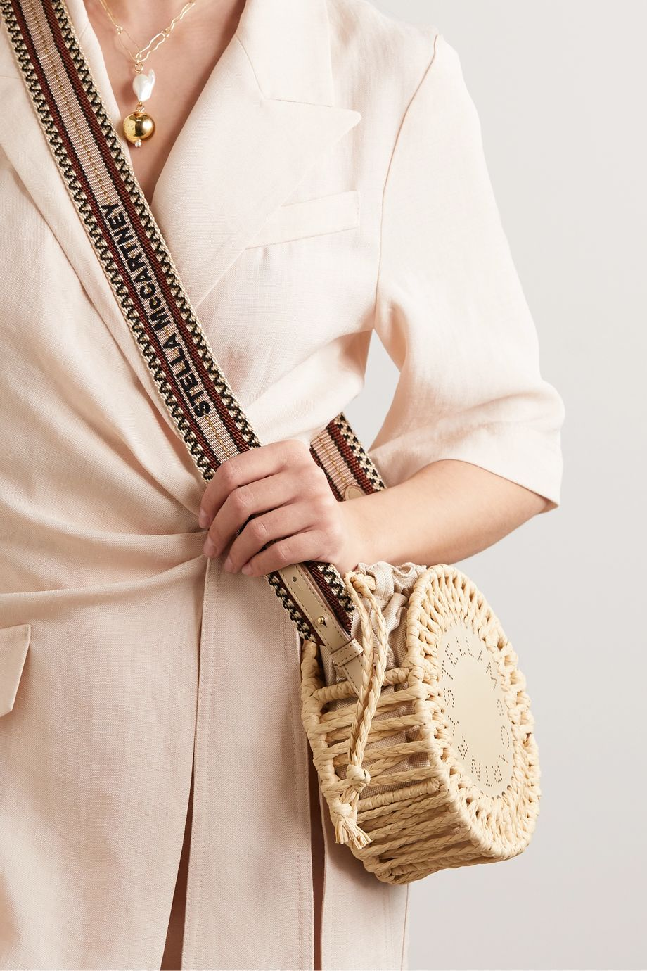 Stella McCartney + NET SUSTAIN woven cotton and perforated vegetarian leather shoulder bag