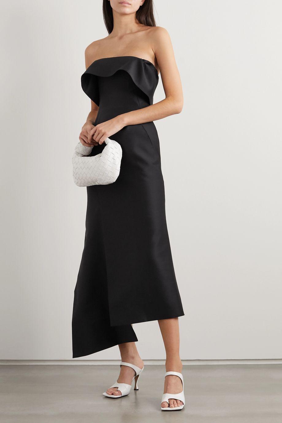 Lanvin Strapless wool and silk-blend midi dress