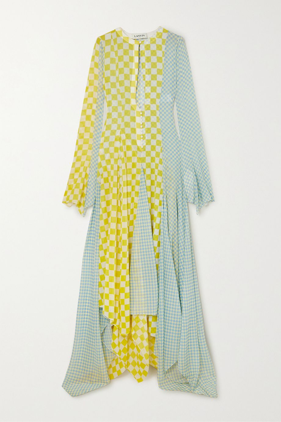 Lanvin Asymmetric checked silk-chiffon gown