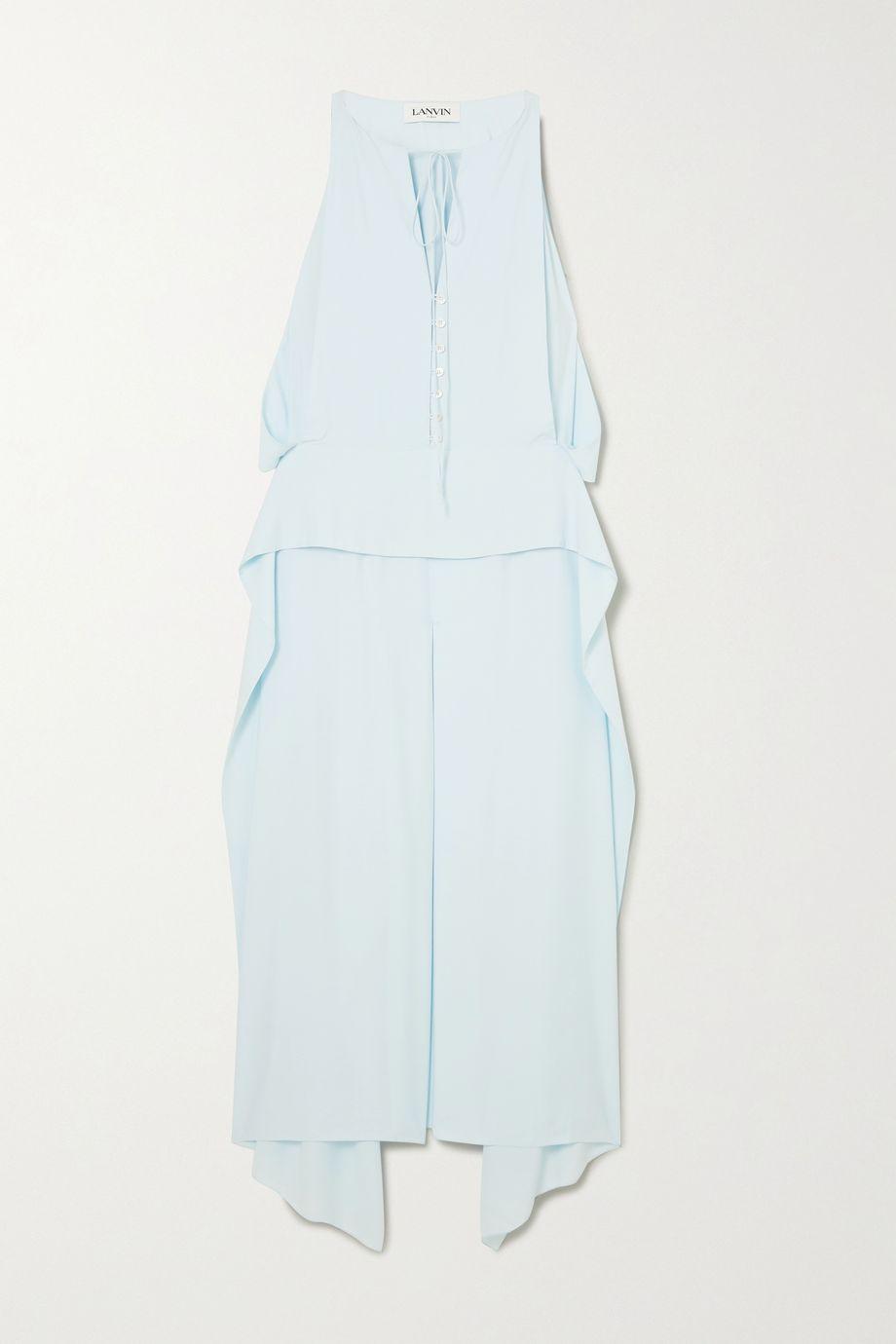 Lanvin Cutout draped crepe de chine midi dress