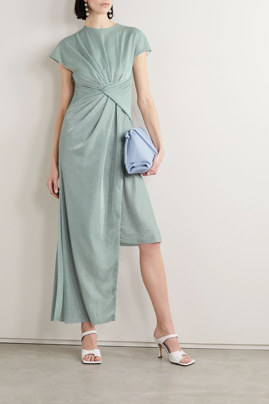 Lanvin Asymmetric bead-embellished gathered metallic knitted dress