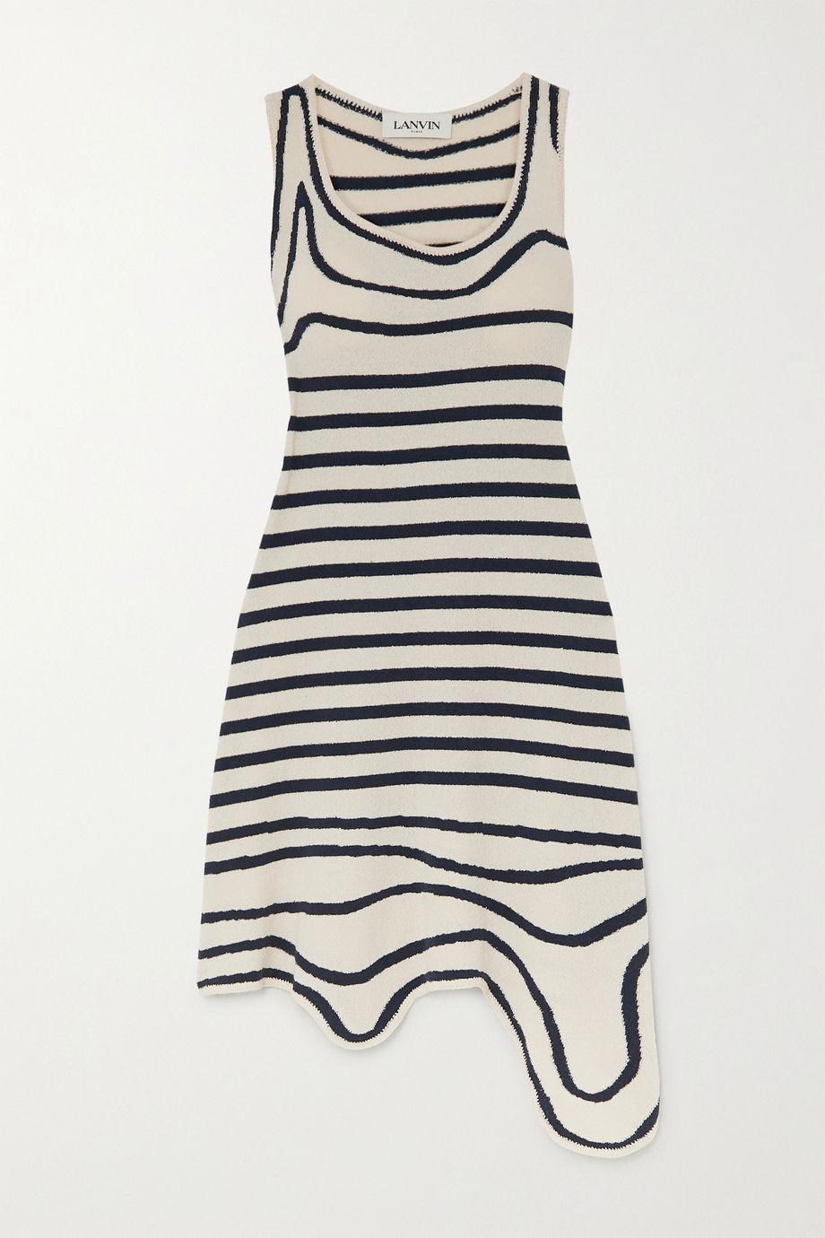 Lanvin Asymmetric striped cotton-blend terry dress