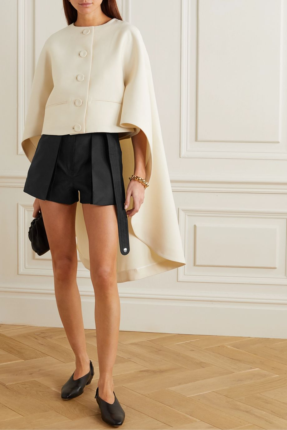 Lanvin Belted wool and silk-blend shorts