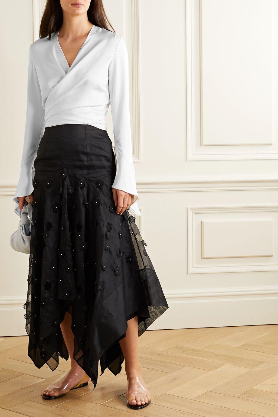 Lanvin Cropped satin wrap blouse