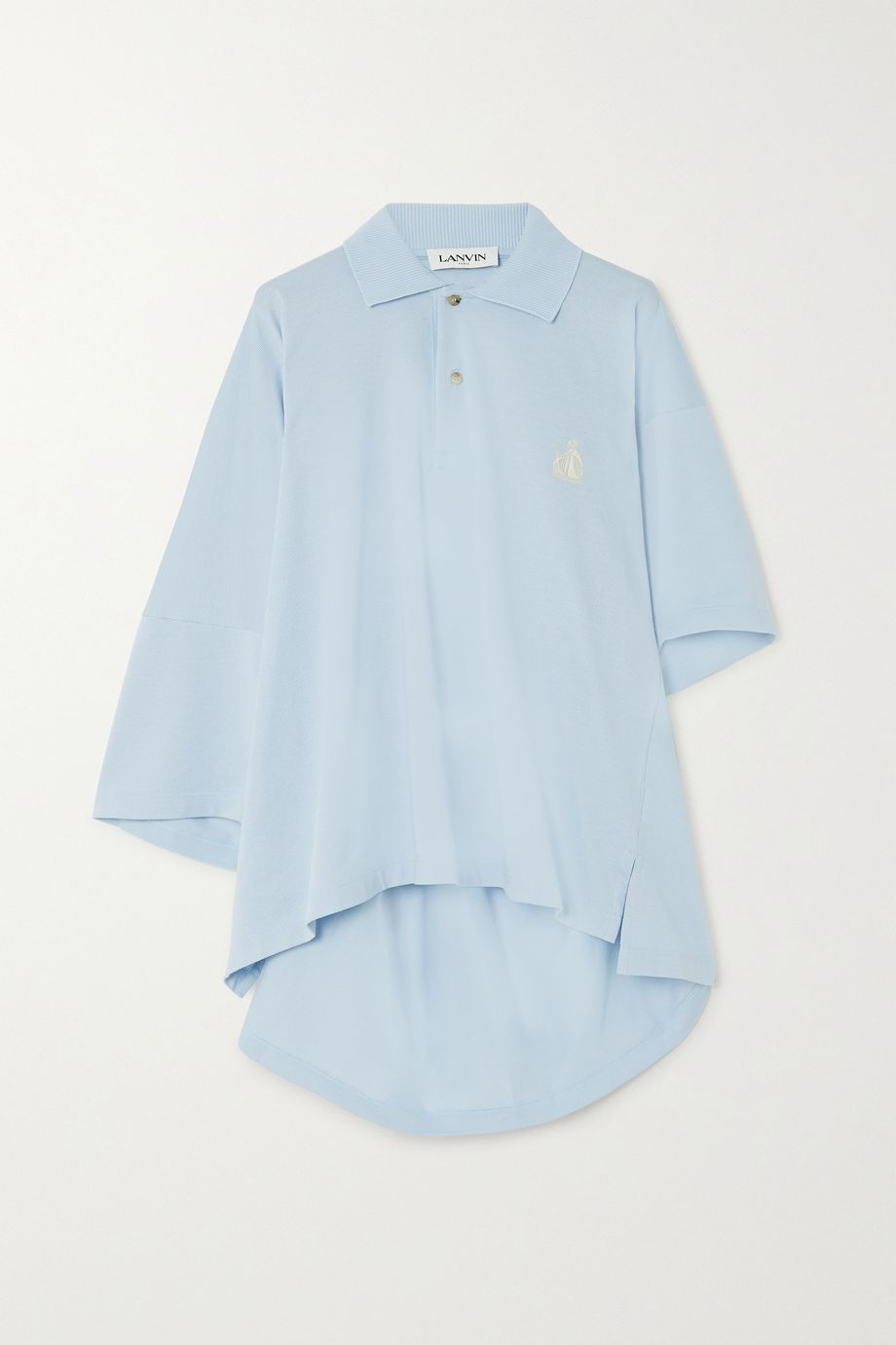 Lanvin Oversized asymmetric embroidered cotton-piqué polo shirt