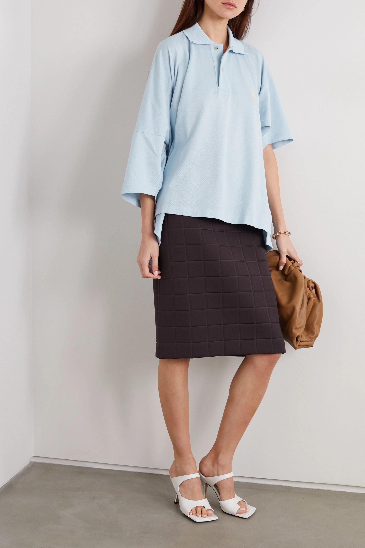 Lanvin Oversized asymmetric embroidered cotton-piqué polo shirt