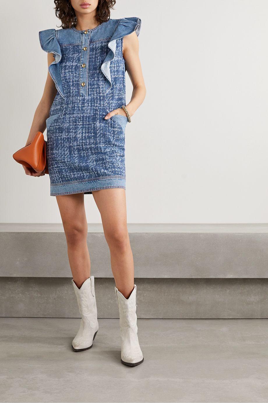 Philosophy di Lorenzo Serafini Ruffled denim and bouclé mini dress